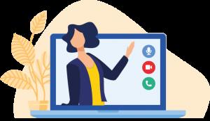 opengeklapte laptop met leerkracht online