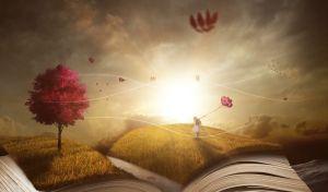 meisje met ballonnen vast in een opengeslagen boek