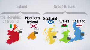 Kaart van Ierland en Groot-Brittannië