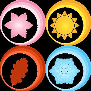 picto van vier seizoenen: zon, sneeuw, bloem, herfstblad