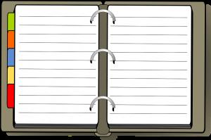 notitieboekje met tabblaadjes