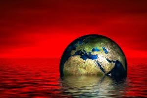 planeet zakt in het water