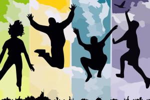 silhouet van mensen die springen