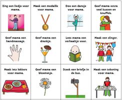 12 mother's day bingo boxes with text and pictograms