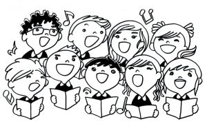 Een tekening in zwart-wit met kinderen die in koor zingen