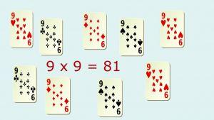 9 speelkaarten van 9 met oef 9*9=81