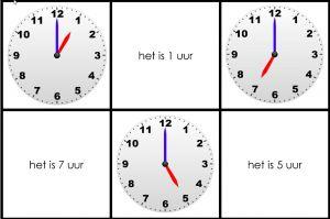 Drie klokken met vermelding van het uur