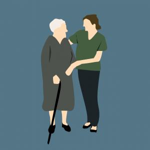 Hulpverlener ondersteunt oudere dame