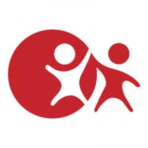 buddy logo: rode cirkel met wit mannetje en rood mannetje naast de cirkel