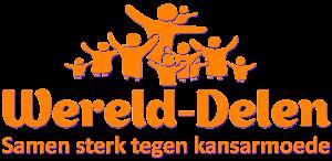 Oranje logo: mensen in groep en de woorden Wereld-Delen Samen sterk tegen kansarmoede