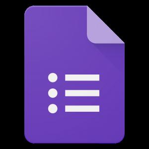 Het logo van Google Formulieren, een paars blad met een bulletlist.