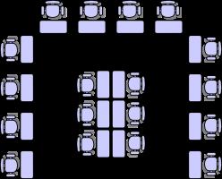 Grondplan van een klaslokaal.