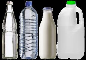 melk- en waterflessen