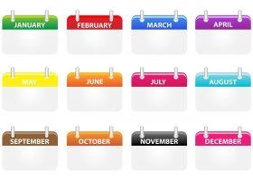 kalenderblaadjes van de verschillende maanden