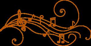 muzieknoten op een notenbalk met krullen