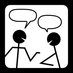 Twee stokmannetjes die tegen elkaar spreken.