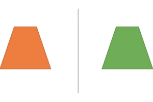 een oranje en groene trapezium