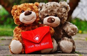 Twee knuffelberen met de tekst Love you Mam
