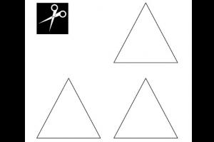 drie driehoeken en picto van schaar
