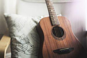 een gitaar op een kussen met blaadjes in een stoel