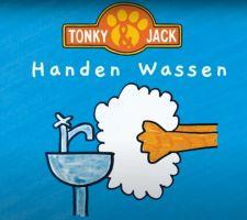 Start filmpje met titel handen wassen Tonky en Jack