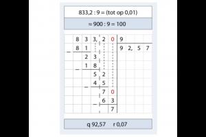 voorbeeld van uitgewerkte deling 833,2/9