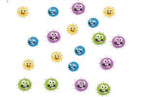 Werkblad tellen met enkele coronavirussen in verschillende kleuren