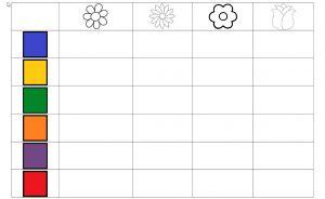 Screenshot werkblad matrix met bloemen