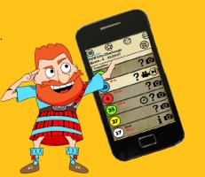 Karikatuurtje van Schot die naast een smartphone staat
