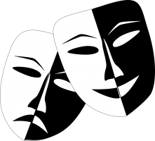 blij en verdrietig masker in zwart-wit