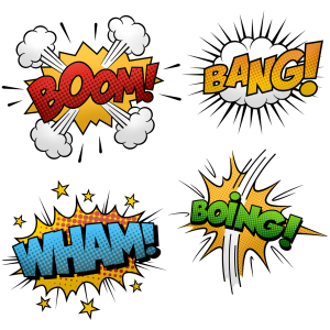 In fun colorful fonts you see the words: boom !, wham !, bang !, boing!