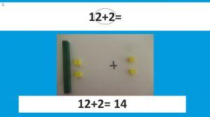 Screenshot uit de presentatie met weergave van de oefening 12 + 2