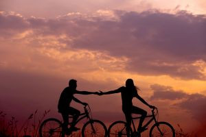 two cyclists in the evening sun
