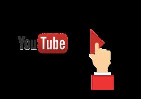 Een filmrol met het logo van YouTube en een playknop.