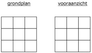 Grondplan en vooraanzicht schema