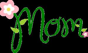 mom in het groen geschreven met een bloem