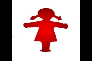 rood meisje met armen opzij