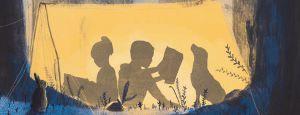 Banner kinderen die lezen in een tent
