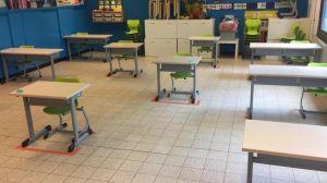 klaslokaal waar aangegeven is hoe de banken moeten staan