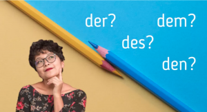 Woman thinking about German articles
