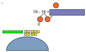 Deel van de presentatie met de opdracht  19 16 =