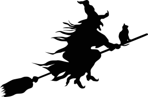 silhouet van een heks op een bezemsteel