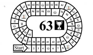 Ganzenbord met nummers tot en met 63