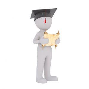 mannetje met graduate-hoedje
