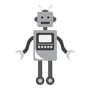 A robot drawn in gray scale.