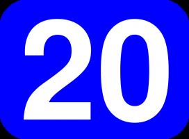 Een blauw vierkant met witte opdruk het getal twintig.