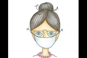 tekening van juf met mondmasker