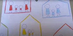 Screenshot video met het huis van familie Rood