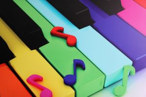 colored piano with colored musical notes on it