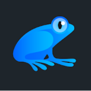 Blauwe kikker - logo Ribbet